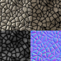 Cobble stones seamless generated texture (diffuse, bump, normal)