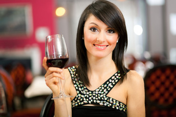 Beautiful woman at the restaurant