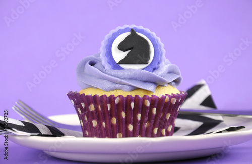 In de dag Buffet, Bar Black and white chevron with purple theme party luncheon table