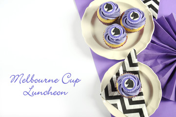 Black and white chevron with purple theme party luncheon table