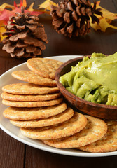 Holiday crackers and guacamole
