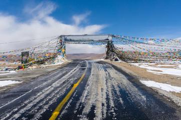 Tibet gate with prayer flag