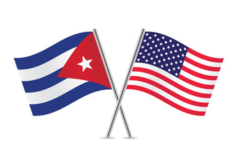 American and Cuban flags. Vector illustration.