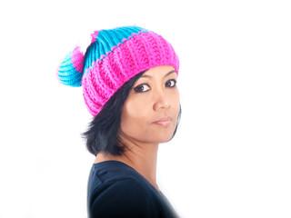 woman wearing winter cap