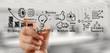 Leinwandbild Motiv hand drawing graph chart and business strategy as concept
