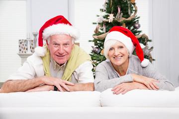 happy senior christmas couple