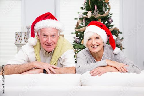 canvas print picture happy senior christmas couple