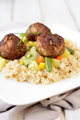 Couscous and meat balls