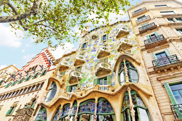 BARCELONA, SPAIN - SEPT  04, 2014: Outdoor view  Gaudi's  creati