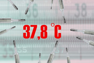 Many mercury thermometers and bodys temperature