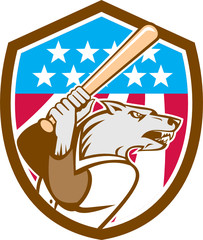 Wolf Baseball With Bat USA Stars Shield Retro