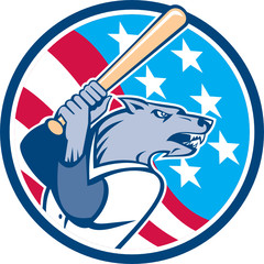 Wolf Baseball With Bat USA Stars Circle Retro