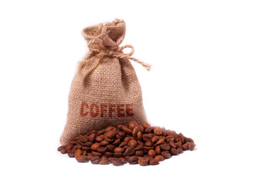 A  coffee bag isolated  a white background