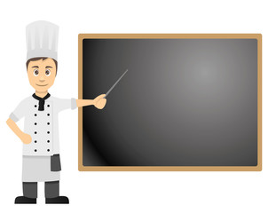 Male Cook Pointing at Menue Blackboard Right
