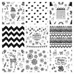 Christmas Doodles Seamless Background Set