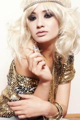 Blond Glitter Woman Beauty