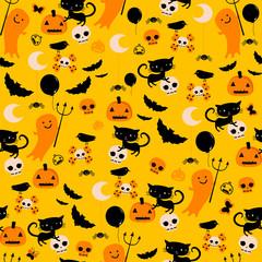 cute halloween ghosts, cats, bats seamless pattern