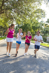 Man Woman Parents Girl Children Family Running or Jogging