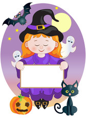 Little Witch with Signboard