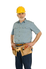 Mature Construction Worker With Tool Belt and Hard Hat