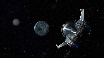 Space Shuttle approaching Earth