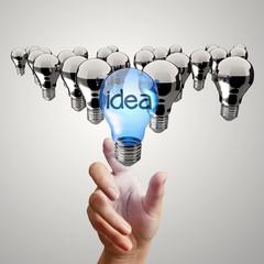 hand reach  light bulb of leadership concept