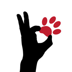 Vector silhouette dog paw.