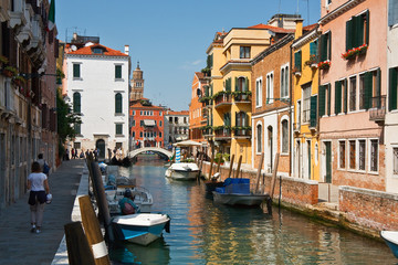 Canal on the main island in Venice, Italy.