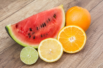 Watermelon Slice And Citrus Fruits