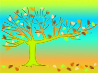 Tree of dreams. Abstract background illustration.