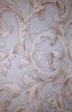 Fototapety Vintage grey victorian wallpaper with beige baroque vignette