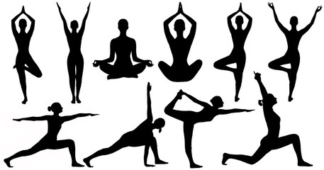 Yoga Poses Woman Silhouette, Set Isolated Over White Background