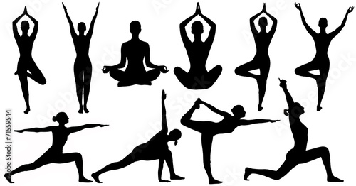 Yoga Poses Woman Silhouette, Set Isolated Over White Background - 71559544