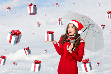 Presents falling from the sky on a woman with an umbrella