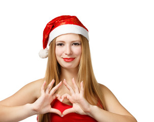 Young woman in santa hat with heart shape
