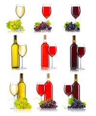 Set of different kinds of wine (red, rose, white) with grapes is