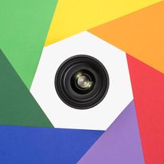 Objektiv in siebeneckigem Farbkreis