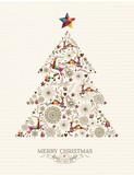Fototapety Vintage Christmas tree greeting card