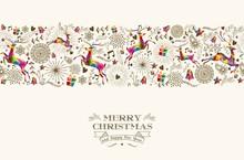 Renifer Boże Narodzenie bez szwu rocznika wzór