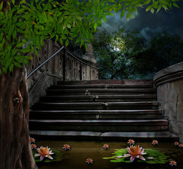 Old stone staircase in celebration of Halloween on background of