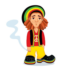 Illustration of Rastafarian guy holding a joint