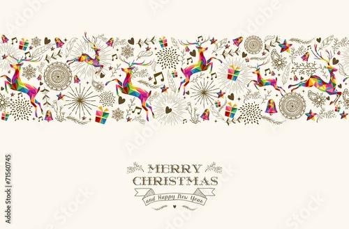 Vintage Christmas reindeer seamless pattern poster