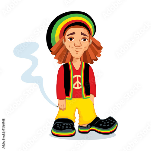 Illustration of Rastafarian guy holding a joint - 71560768