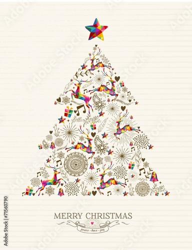 Vintage Christmas tree greeting card - 71560790