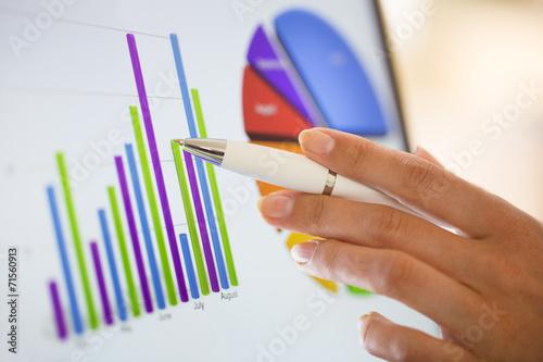 Leinwanddruck Bild Close-up on financial data computer screen