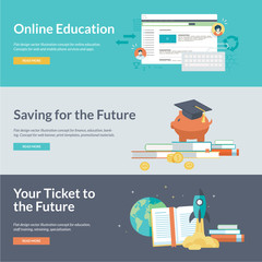 Flat design vector illustration concepts for online education