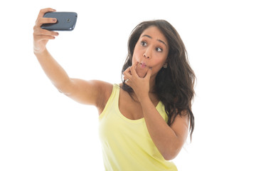 Black woman taking mad selfie