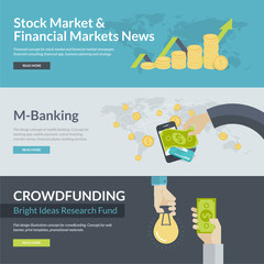 Flat design concepts for finance, m-banking, crowdfunding