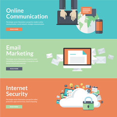Flat design concepts for internet communications