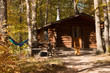 Camping cabin in forest